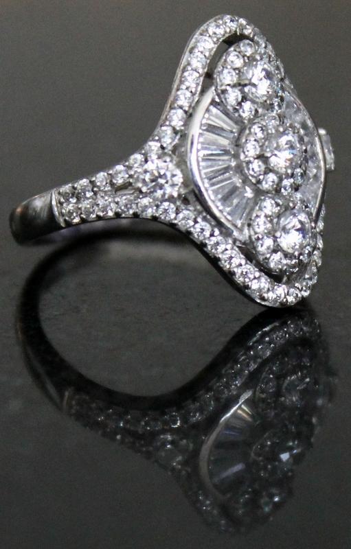 Epiphany Platinum Clad Diamonique 1.75 cttw Fancy Cut Ring