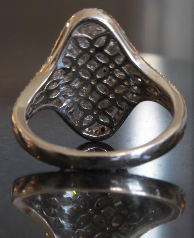Bottom view of Epiphany Platinum Clad Diamonique 1.75 cttw Fancy Cut Ring