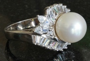 Joseph Esposito Diamonique Sterling Cultured Pearl Ring