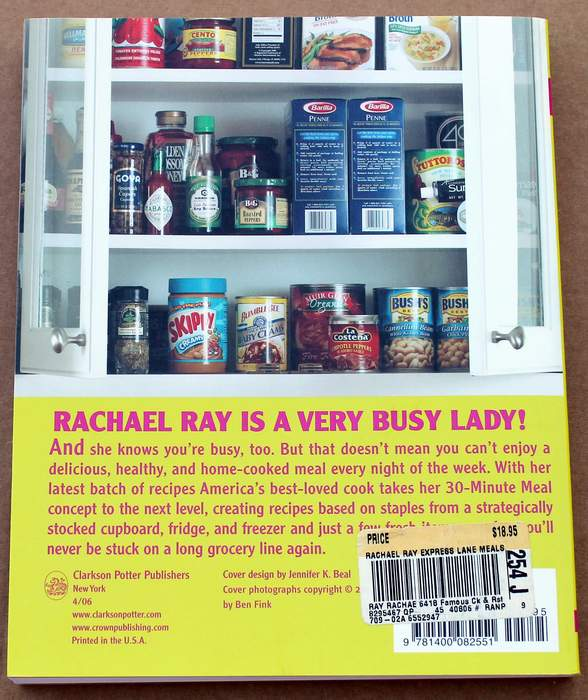 Back Cover - Express Lane Meals By Rachel Ray - a 30 Minute Meal Cookbook