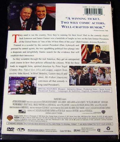 (back view) My Fellow Americans DVD Video Brand New - Sealed in Factory Shrink-Wrap - Actors: Jack Lemmon, James Garner