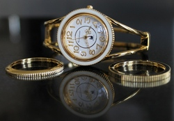 Gloria Vanderbilt Goldtone Hinged Bangle Fashion Watch with 3 Interchangeable Bezels