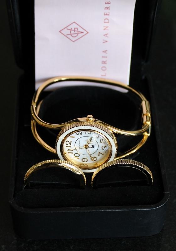 Gloria Vanderbilt Goldtone Hinged Bangle Fashion Watch with 3 Interchangeable Bezels