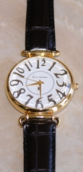 Gloria Vanderbilt Goldtone Classy Large Numbers Faceted Crystal Leather Strap Watch