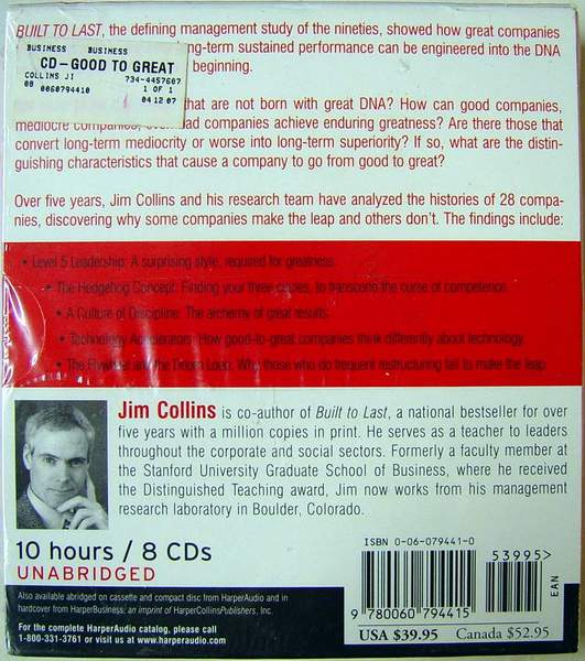 (back view) Good to Great: Why Some Companies Make the Leap...And Others Don't (Unabridged) 10 Hours on 8 CDs AudioBook