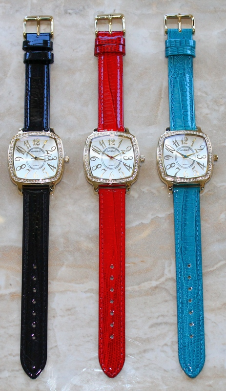Gossip Pillow-shaped Crystal Bezel, Large Arabic Numbers, Black, Red or Blue Leather Strap Watch GSP662A or B or C