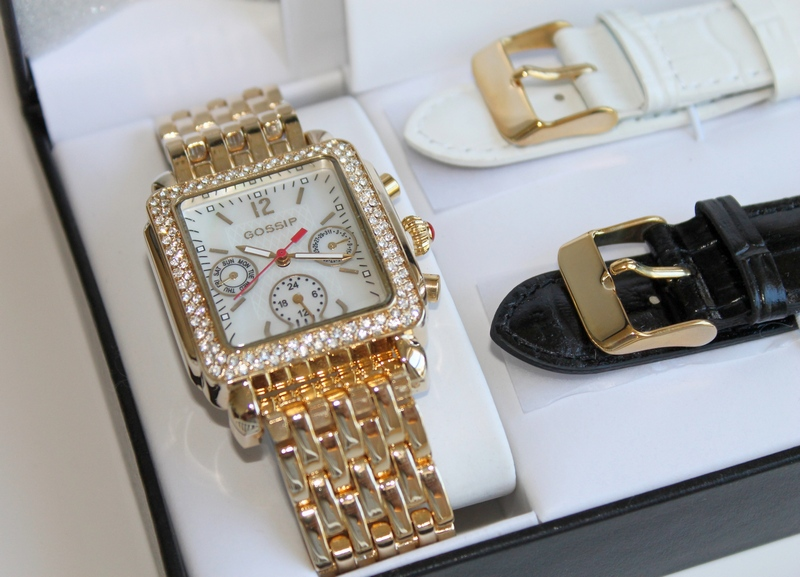 Gossip Mother of Pearl, Multi Function, Luxury Sport Watch with Crystal Bezel & 3 Bands - Gold Tone, Black Leather, White Leather