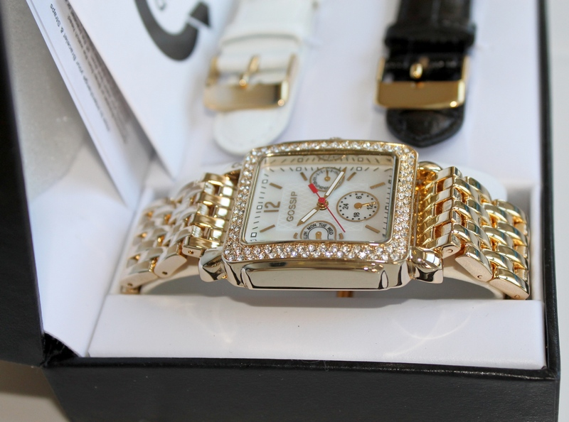 Gossip Mother of Pearl, Multi Function, Luxury Sport Watch with Crystal Bezel with 3 Bands - Gold Tone, Black Leather, White Leather