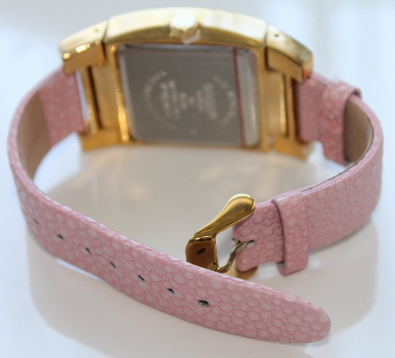 Gossip Oversized Pave' Set Crystal Bezel Accented Mother-of-Pearl Dial Pink Leather Strap Watch