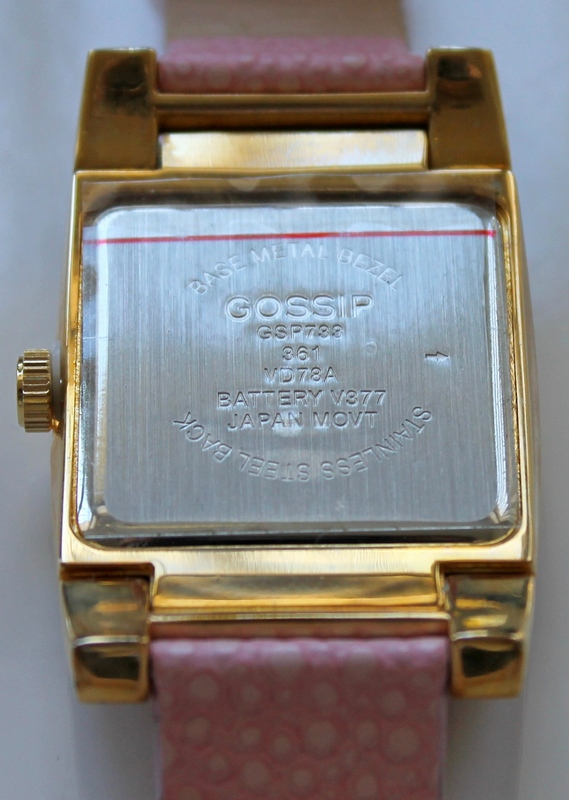 Back View of the Gossip GSP733 Oversized Pave' Set Crystal Bezel Accented Mother-of-Pearl Dial Pink Leather Strap Watch