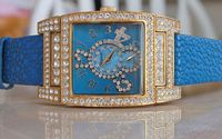 Gossip Oversized Pave' Set Crystal Accented Bezel and Mother-of-Pearl Dial, Blue Leather Strap Watch NEW