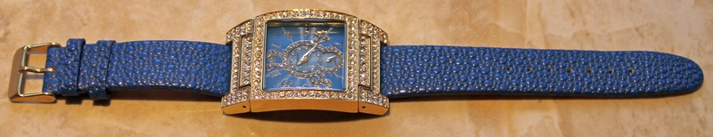 Gossip Oversized Pave' Set Crystal Accented Bezel and Mother-of-Pearl Dial, Blue Leather Strap Watch