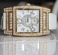 Gossip Oversized Pave' Set Crystal Bezel and Accented Mother-of-Pearl Dial, White Leather Strap Watch