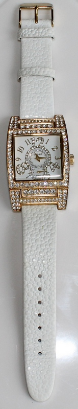 Gossip Oversized Pave' Set Crystal Bezel, Accented Mother-of-Pearl Dial, White Leather Strap Watch