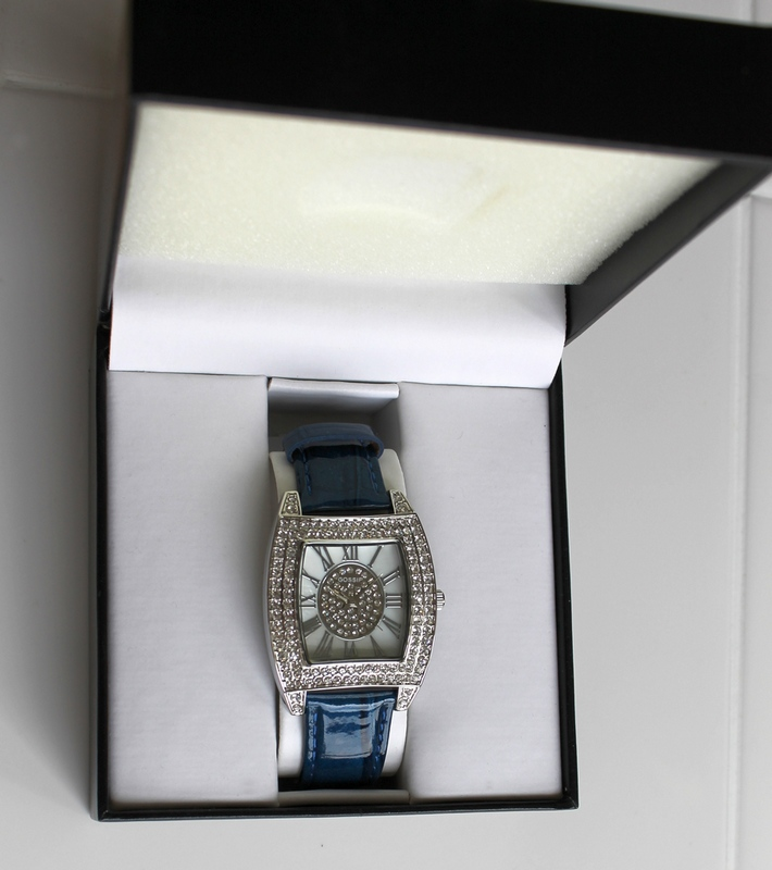 Gossip Pave' Set CZ Accented Tonneau Case Watch with Glossy Blue Croco Leather Strap