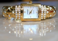 Gruen Goldtone CZ Gemstone Mother-of-Pearl Cuff Bracelet Watch