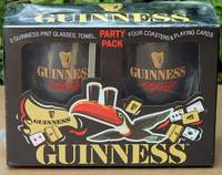 Guinness Party Pack 2 Pint Glasses, Towel, 4 Coasters & a pack of playing cards - Brand New Sealed