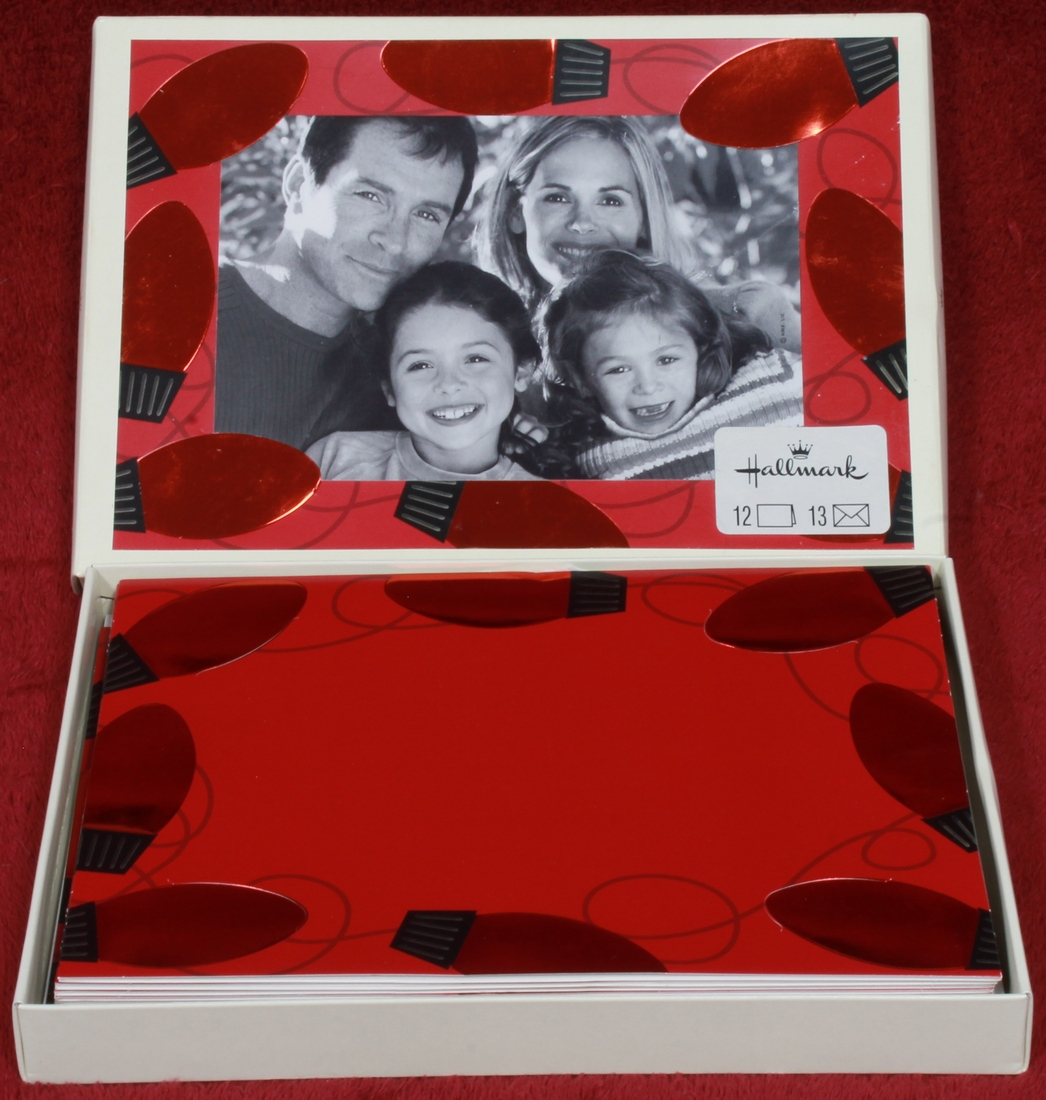 Hallmark - Red Embossed Christmas Lights Photo Insert Boxed 12 Cards ...