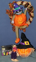 Halloween Cat Wreath, Fiber Optic Pumpkin, 70 Count Light Set and Scarecrow!