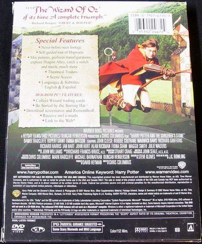 (back view) Harry Potter and the Sorcerer's Stone 2-Disc Special Widescreen Edition DVDs