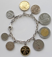 8 inch Sterling Silver .925 Chain CHARM BRACELET stamped .925 Milor Italy with 9 Italian Lire Coins