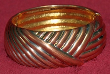 Joan Rivers Bold Ribbed Cuff Bracelet (copper and gold toned)