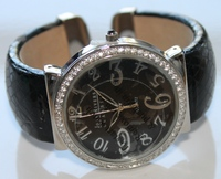 Joan Rivers Classics CZ Crystal Bezel Hinged Bangle Watch NEW but with damage to faux leather cuff