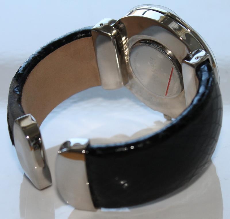 Joan Rivers Classics CZ Crystal Bezel Silvertone Hinged Bangle Black Watch