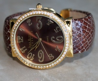 Joan Rivers Classics CZ Crystal Bezel Goldtone Hinged Bangle Brown Watch