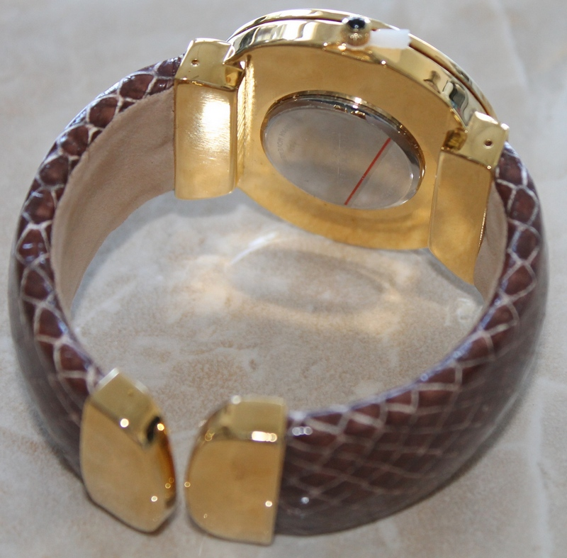 Joan Rivers Classics CZ Crystal Bezel Hinged Bangle Brown Watch
