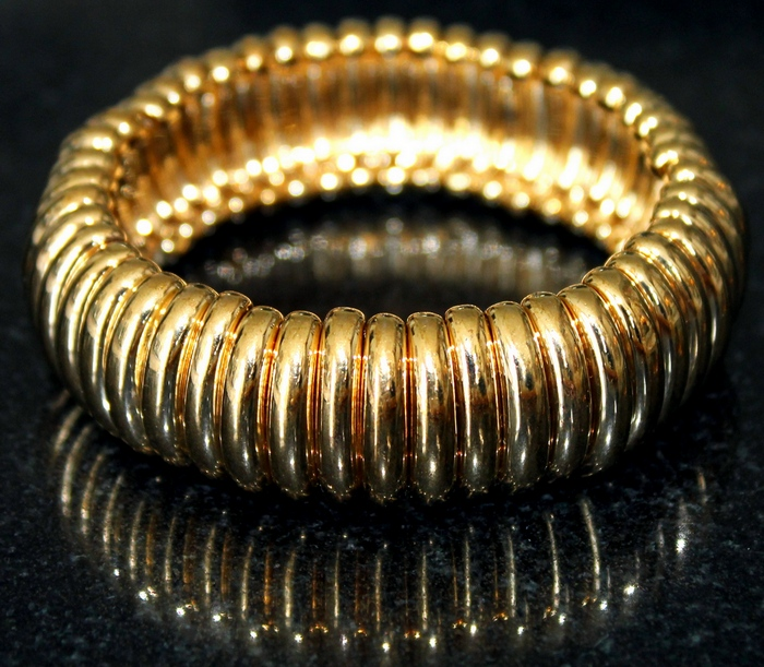 Joan Rivers Goldtone Modern Ribbed Stretch Bracelet