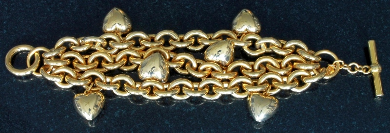 Joan Rivers Gold-tone Puffy Heart Charms Chain Link Toggle Closure Bracelet