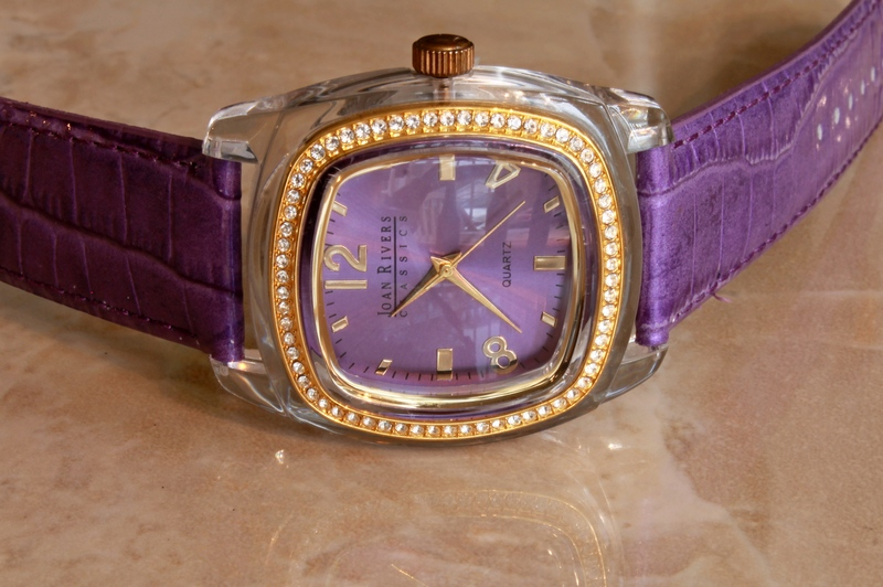 Joan Rivers Radiant Goldtone and Crystal Dial Violet Leather Strap Watch - QVC Item # J37068