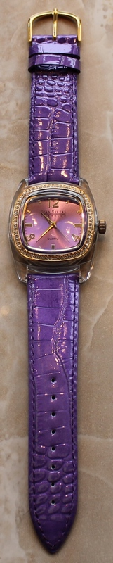 Joan Rivers Radiant Goldtone and Crystal Dial Violet Leather Strap Watch
