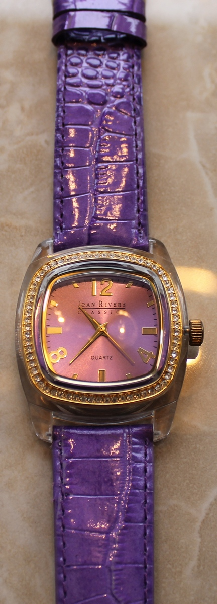 Joan rivers radiant goldtone and crystal dial violet leather strap watch for Violet leather strap watch