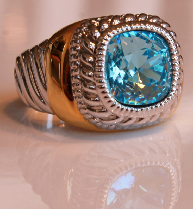 Joan Rivers Two-tone Twisted Cable Simulated Blue Topaz Ring