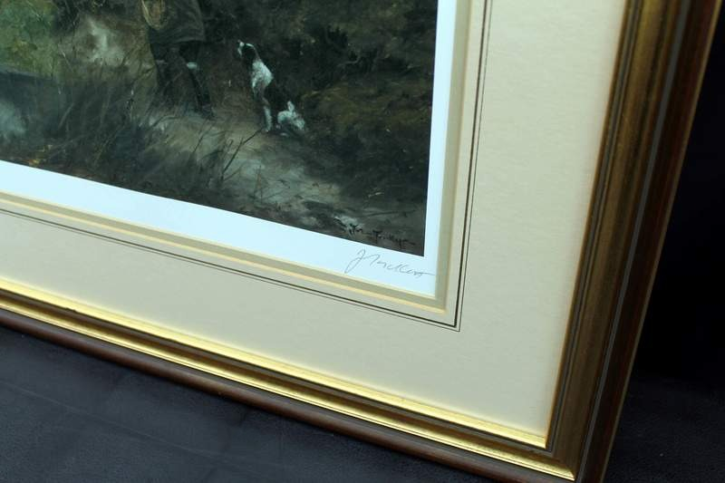 Close-up detail of print by John Trickett - Shooting with Springer Spaniel - Fine Art Limited Edition Print #395 of 850 published by Sally Mitchell, 1984 in Askham, Nottinghamshire.  Double matted in beautiful gold and brown frame with glass face.