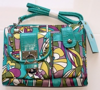 Kathy Van Zeeland Organizer Bag with Croco Embossed Trim Kaleidoscope Print