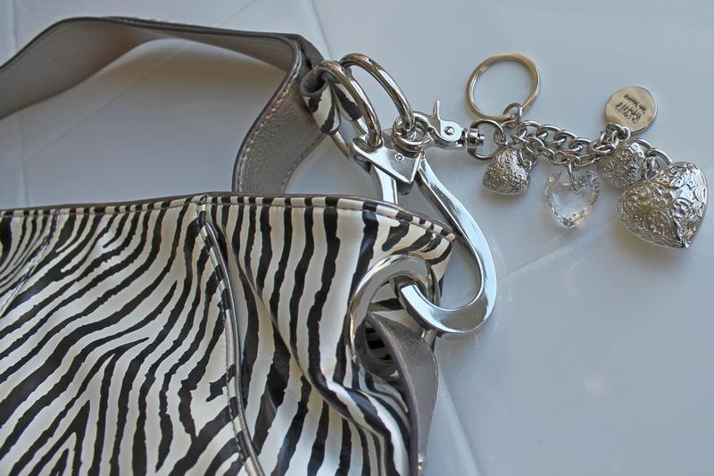 Kathy Van Zeeland Patent Triple Compartment Zebra Pattern Hobo Bag with Keychain