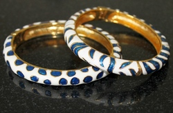 Kenneth Jay Lane's Set of 2 Psychedelic Safari Bangles (Royal Blue Plus)