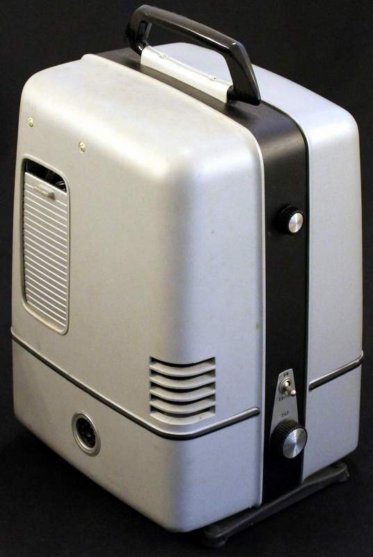 Keystone K-112Z 8mm Movie Projector Case.  The sliding door on the side houses the power cord.