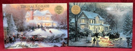 2 Boxes of Thomas Kinkade, Painter of Light, Glossy Holiday Cards; 14 in each box titled -Victorian Christmas II and Home for the Holidays-