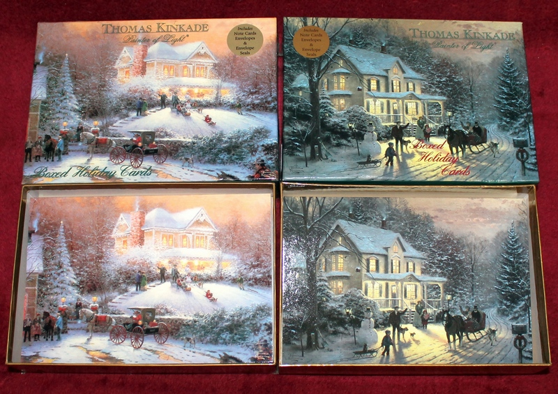 -Victorian Christmas II and Home for the Holidays- Thomas Kinkade -Painter of Light- Boxed Holiday Cards shown here with the lids removed