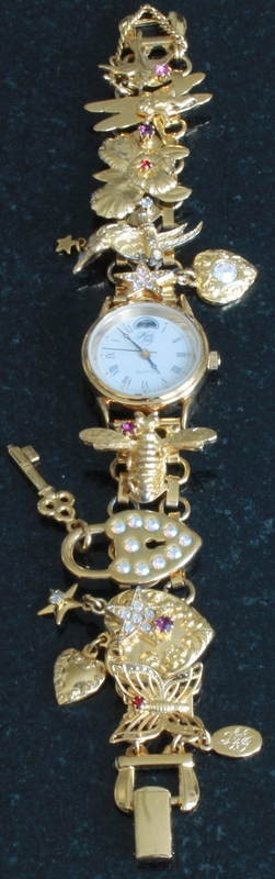 Kirks Folly Fantasy Charm Bracelet Goldtone Watch