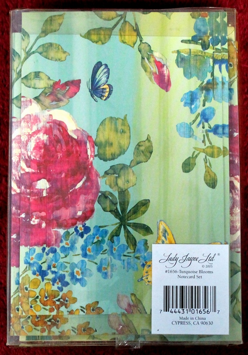 Lady Jayne Ltd. #1656 Turquoise Blooms Notecard Set with Butterflies and flowers theme