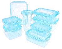 Lock & Lock 8-piece Color Food Storage Container Set QVC Item K6124 Light Blue