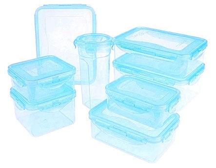 Lock & Lock 8-piece Color Food Storage Container Set QVC Item K6124 Light Blue