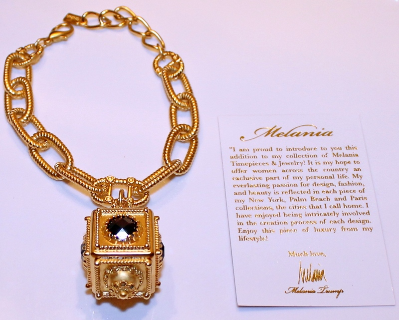 Melania Goldtone Vintage Design Charm Faux Black Onyx Bracelet with romance card.