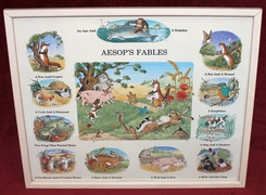 Melanie Cargill - AESOP'S FABLES - Vintage framed print with glass face.