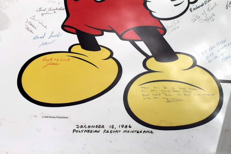 Mickey Mouse Framed Poster / Print signed in 1986 by the employees of Disney's Polynesian Resort Hotel Maintenance as a retirement gift.